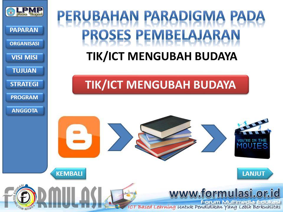PAPARAN TUJUAN STRATEGI PROGRAM VISI MISI ANGGOTA ORGANISASI LANJUT KEMBALI TIK/ICT MENGUBAH BUDAYA