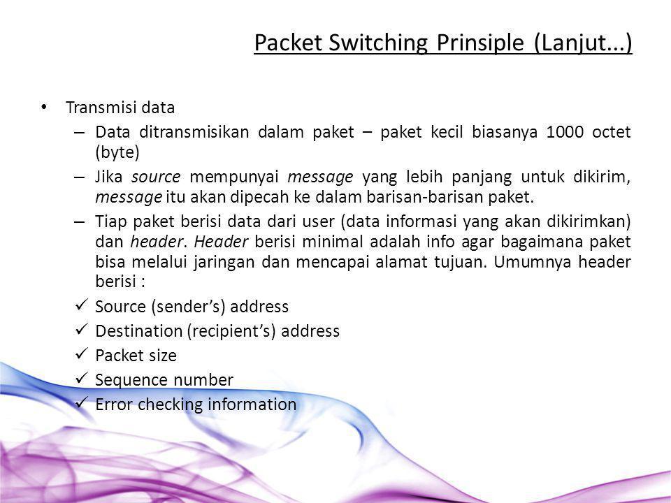 Transmisi data – Data ditransmisikan dalam paket – paket kecil biasanya 1000 octet (byte) – Jika source mempunyai message yang lebih panjang untuk dik