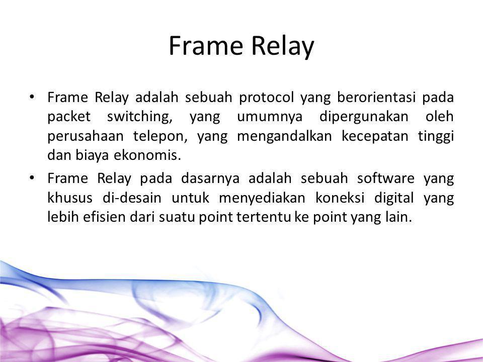 Frame Relay adalah sebuah protocol yang berorientasi pada packet switching, yang umumnya dipergunakan oleh perusahaan telepon, yang mengandalkan kecep
