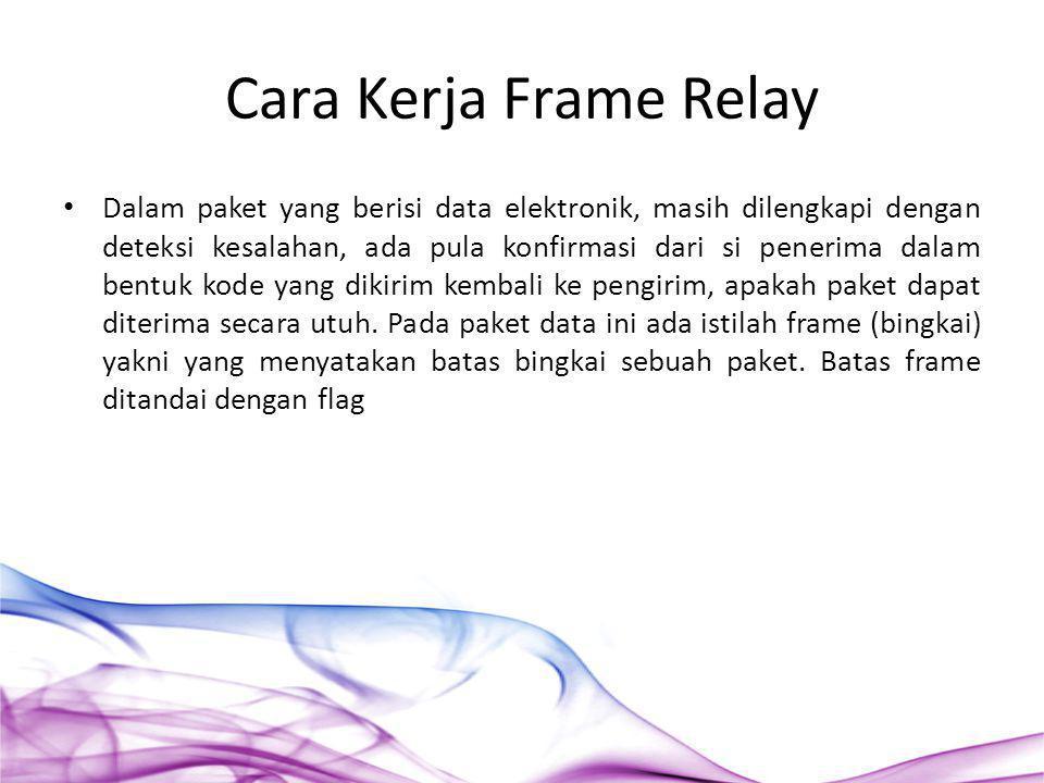 Cara Kerja Frame Relay Dalam paket yang berisi data elektronik, masih dilengkapi dengan deteksi kesalahan, ada pula konfirmasi dari si penerima dalam