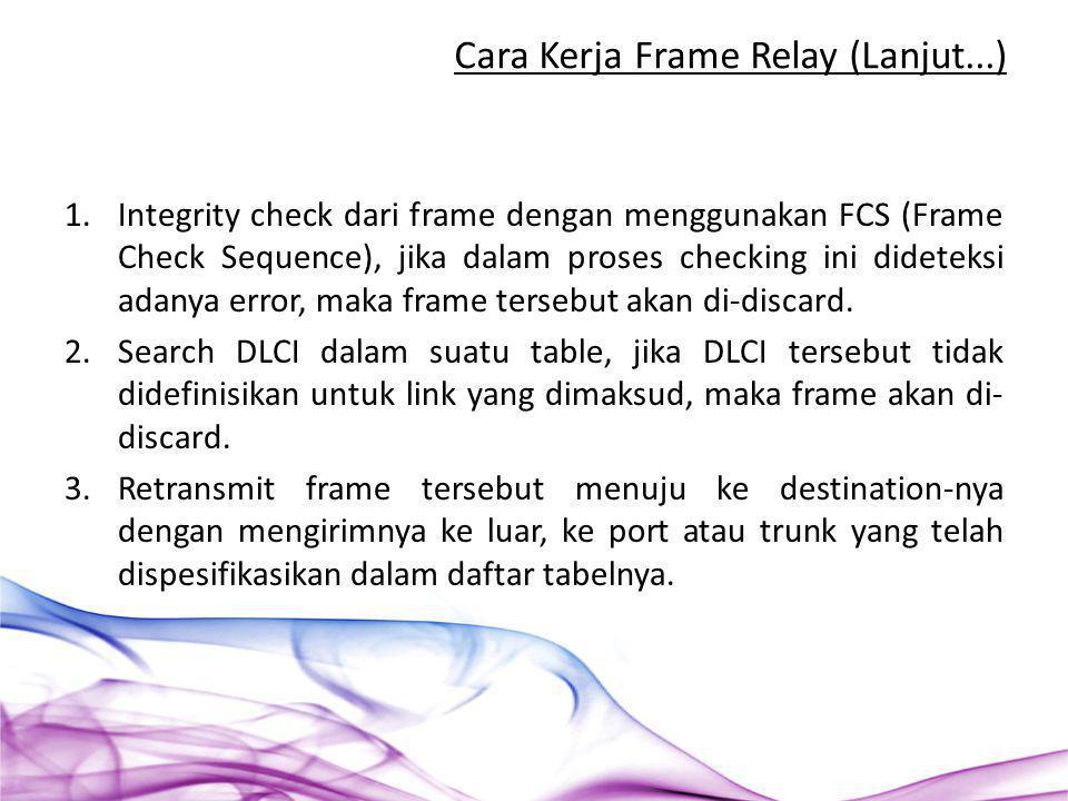 1.Integrity check dari frame dengan menggunakan FCS (Frame Check Sequence), jika dalam proses checking ini dideteksi adanya error, maka frame tersebut