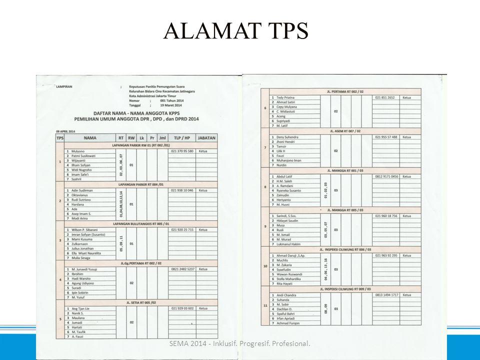 ALAMAT TPS SEMA 2014 - Inklusif. Progresif. Profesional.