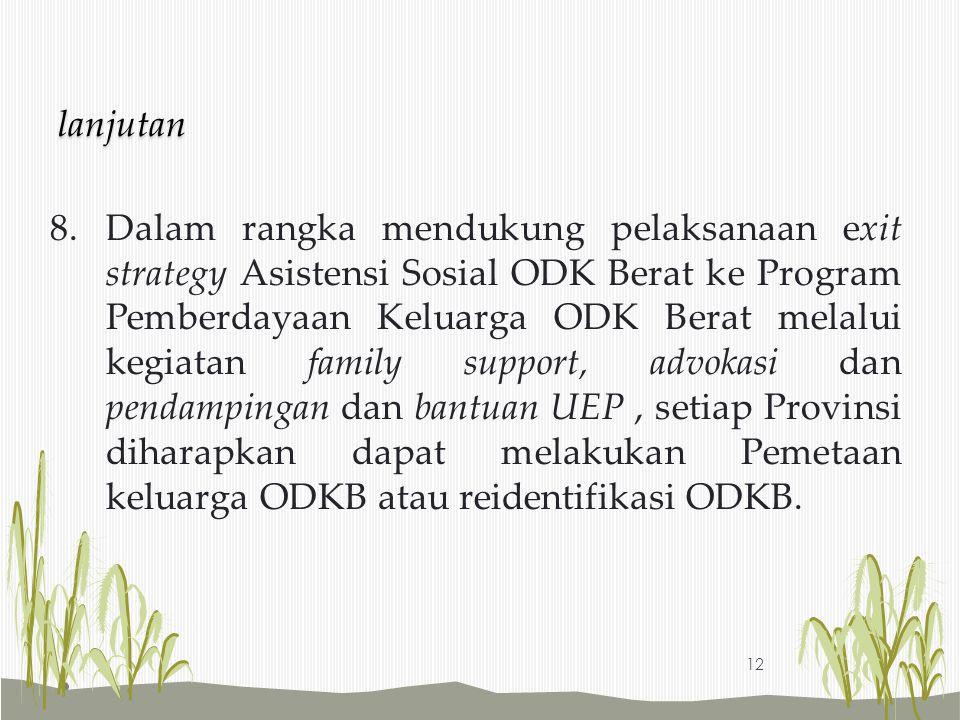 8.Dalam rangka mendukung pelaksanaan exit strategy Asistensi Sosial ODK Berat ke Program Pemberdayaan Keluarga ODK Berat melalui kegiatan family suppo