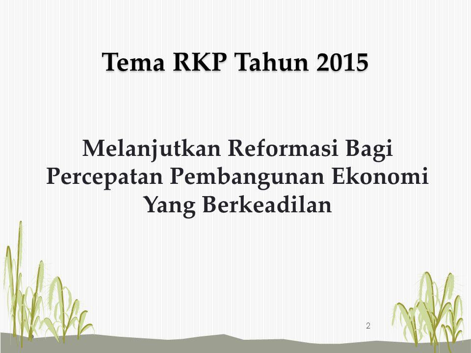 Tema RKP Tahun 2015 Melanjutkan Reformasi Bagi Percepatan Pembangunan Ekonomi Yang Berkeadilan 2