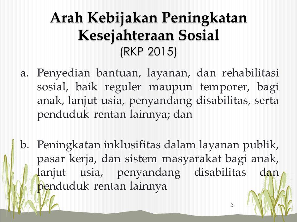 Arah Kebijakan Peningkatan Kesejahteraan Sosial (RKP 2015) a.Penyedian bantuan, layanan, dan rehabilitasi sosial, baik reguler maupun temporer, bagi a