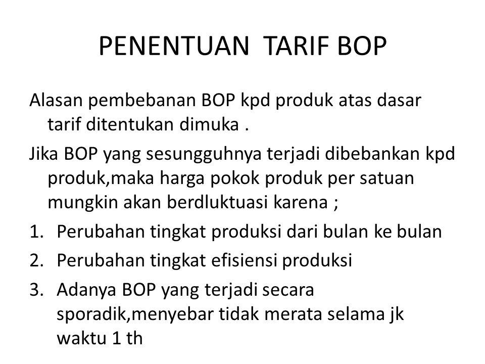 PENENTUAN TARIF BOP Alasan pembebanan BOP kpd produk atas dasar tarif ditentukan dimuka.