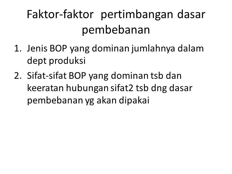 Faktor-faktor pertimbangan dasar pembebanan 1.Jenis BOP yang dominan jumlahnya dalam dept produksi 2.Sifat-sifat BOP yang dominan tsb dan keeratan hubungan sifat2 tsb dng dasar pembebanan yg akan dipakai