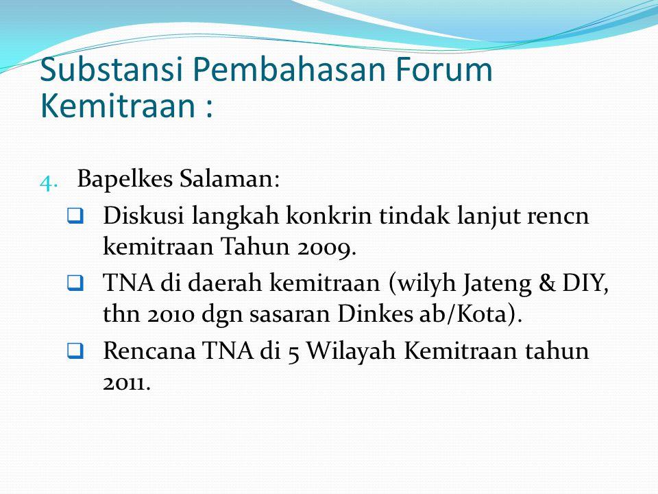 Substansi Pembahasan Forum Kemitraan : 4. Bapelkes Salaman:  Diskusi langkah konkrin tindak lanjut rencn kemitraan Tahun 2009.  TNA di daerah kemitr