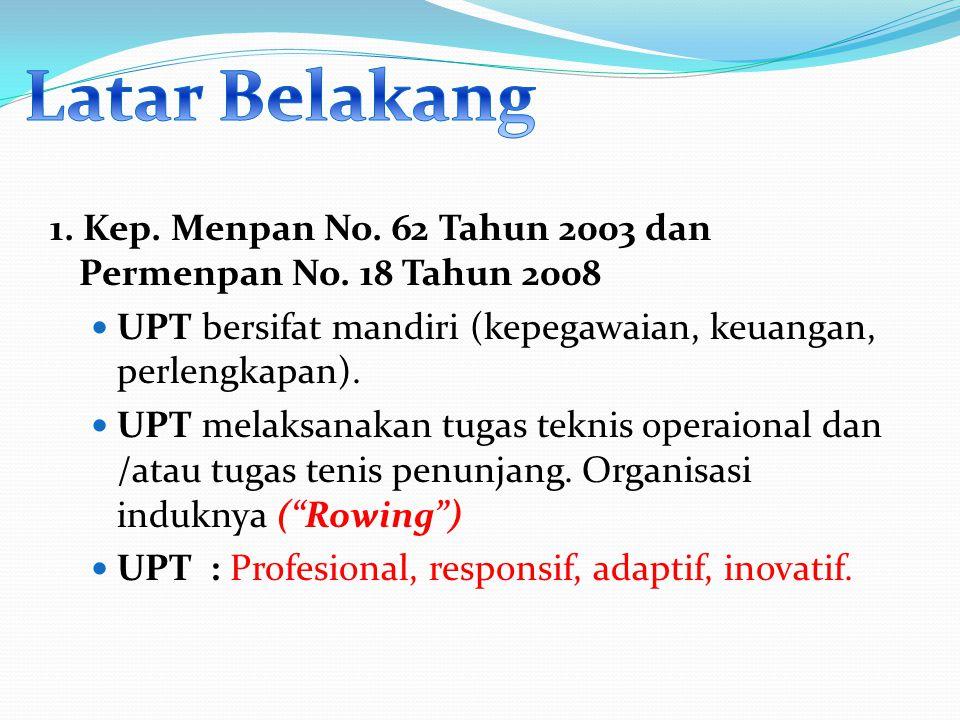 1. Kep. Menpan No. 62 Tahun 2003 dan Permenpan No. 18 Tahun 2008 UPT bersifat mandiri (kepegawaian, keuangan, perlengkapan). UPT melaksanakan tugas te