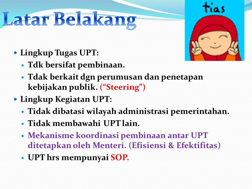 """Lingkup Tugas UPT: Tdk bersifat pembinaan. Tdak berkait dgn perumusan dan penetapan kebijakan publik. (""""Steering"""") Lingkup Kegiatan UPT: Tidak dibatas"""