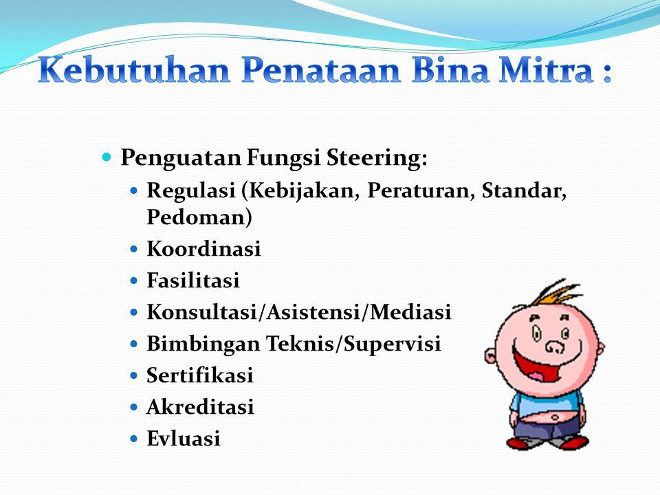 Penguatan Fungsi Steering: Regulasi (Kebijakan, Peraturan, Standar, Pedoman) Koordinasi Fasilitasi Konsultasi/Asistensi/Mediasi Bimbingan Teknis/Super