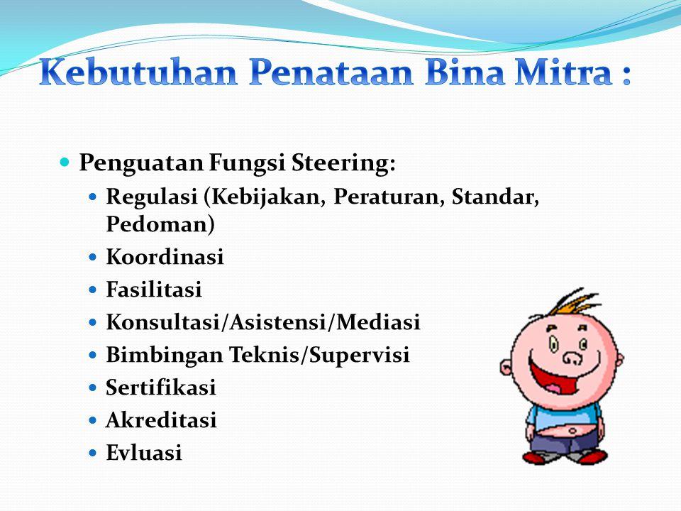Penguatan Fungsi Steering: Regulasi (Kebijakan, Peraturan, Standar, Pedoman) Koordinasi Fasilitasi Konsultasi/Asistensi/Mediasi Bimbingan Teknis/Supervisi Sertifikasi Akreditasi Evluasi