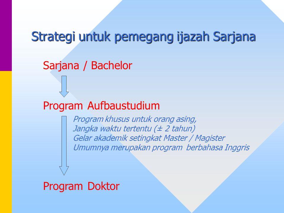 Strategi untuk pemegang ijazah Sarjana Sarjana / Bachelor Program Aufbaustudium Program khusus untuk orang asing, Jangka waktu tertentu (± 2 tahun) Ge