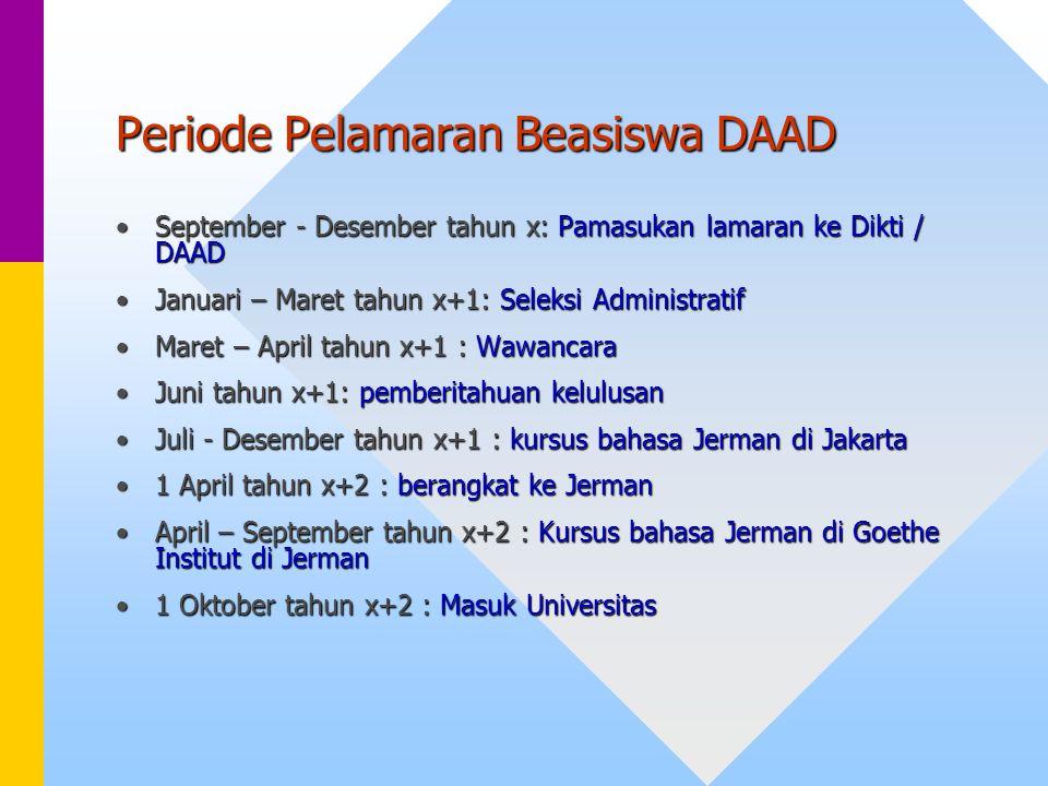 Periode Pelamaran Beasiswa DAAD September - Desember tahun x: Pamasukan lamaran ke Dikti / DAADSeptember - Desember tahun x: Pamasukan lamaran ke Dikt