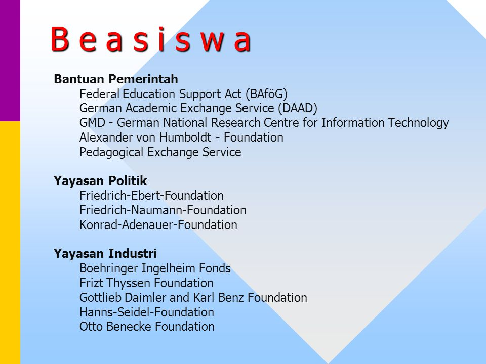 B e a s i s w a Bantuan Pemerintah Federal Education Support Act (BAföG) German Academic Exchange Service (DAAD) GMD - German National Research Centre