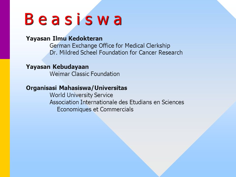 B e a s i s w a Yayasan Ilmu Kedokteran German Exchange Office for Medical Clerkship Dr. Mildred Scheel Foundation for Cancer Research Yayasan Kebuday