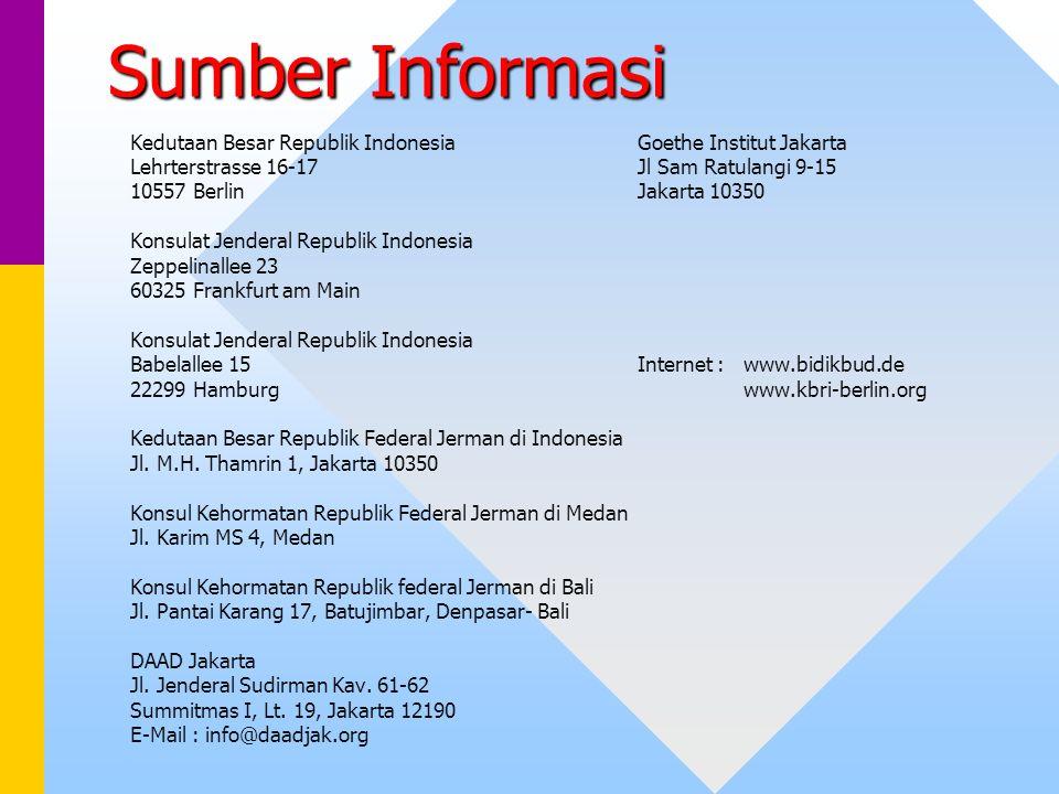 Sumber Informasi Kedutaan Besar Republik Indonesia Goethe Institut Jakarta Lehrterstrasse 16-17 Jl Sam Ratulangi 9-15 10557 Berlin Jakarta 10350 Konsu