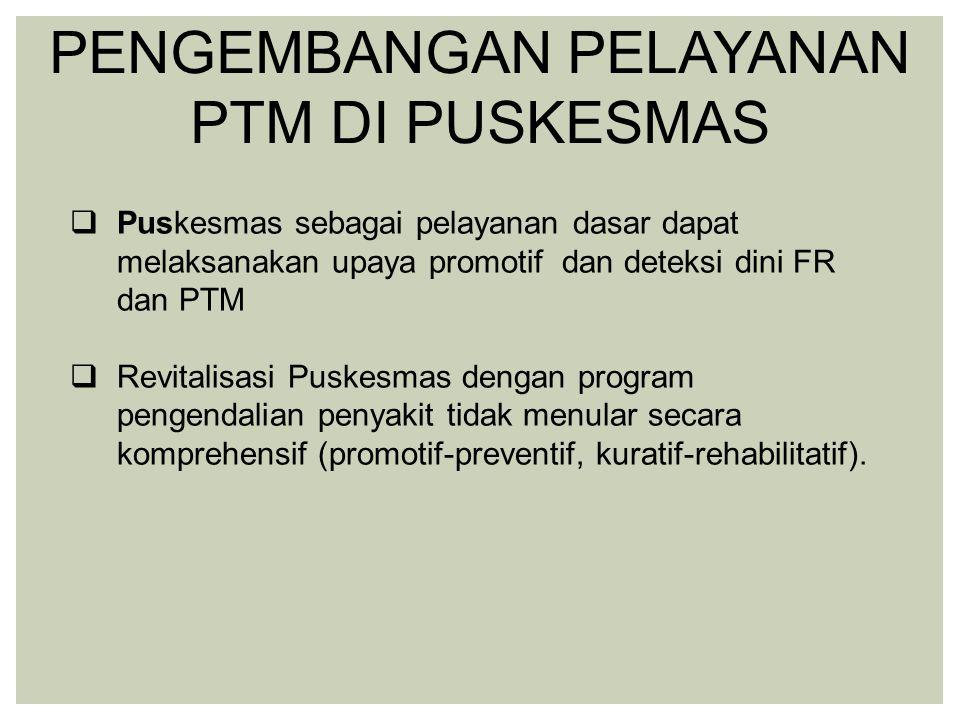  Puskesmas sebagai pelayanan dasar dapat melaksanakan upaya promotif dan deteksi dini FR dan PTM  Revitalisasi Puskesmas dengan program pengendalian penyakit tidak menular secara komprehensif (promotif-preventif, kuratif-rehabilitatif).