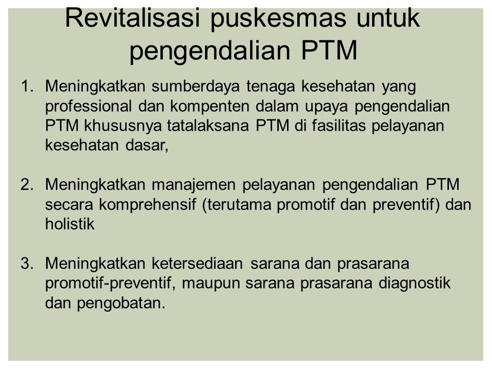 1.Meningkatkan sumberdaya tenaga kesehatan yang professional dan kompenten dalam upaya pengendalian PTM khususnya tatalaksana PTM di fasilitas pelayan
