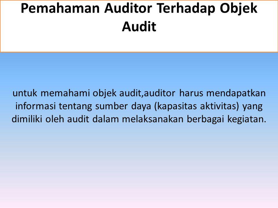 untuk memahami objek audit,auditor harus mendapatkan informasi tentang sumber daya (kapasitas aktivitas) yang dimiliki oleh audit dalam melaksanakan b