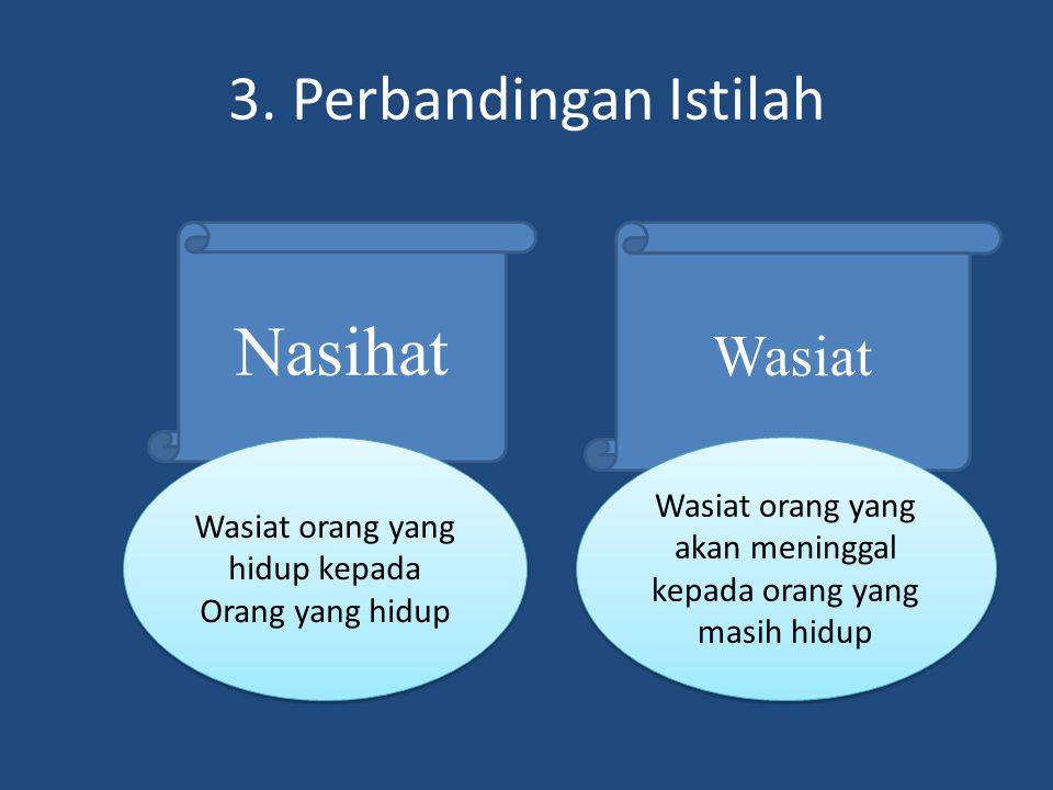 3. Perbandingan Istilah Nasihat Wasiat Wasiat orang yang hidup kepada Orang yang hidup Wasiat orang yang akan meninggal kepada orang yang masih hidup