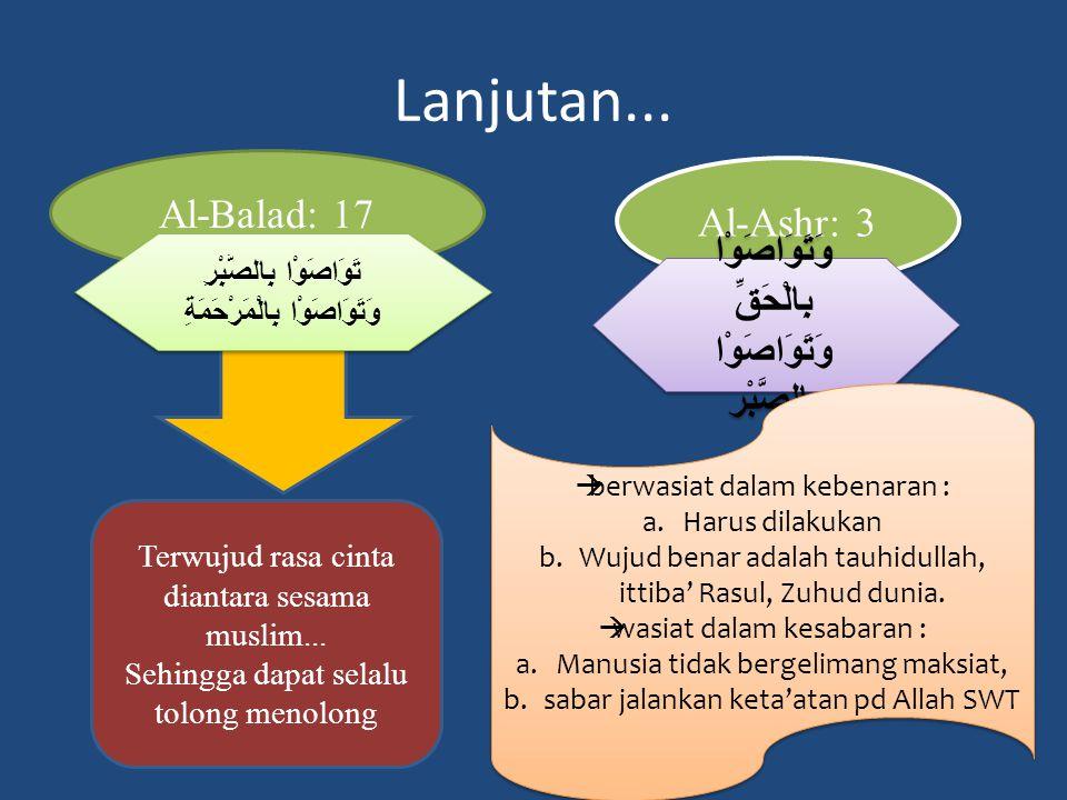 Lanjutan...Al-Balad: 17 Terwujud rasa cinta diantara sesama muslim...