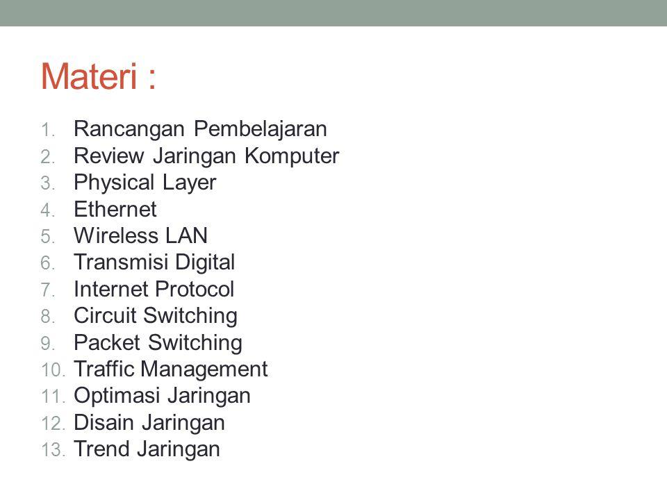 Materi : 1. Rancangan Pembelajaran 2. Review Jaringan Komputer 3. Physical Layer 4. Ethernet 5. Wireless LAN 6. Transmisi Digital 7. Internet Protocol