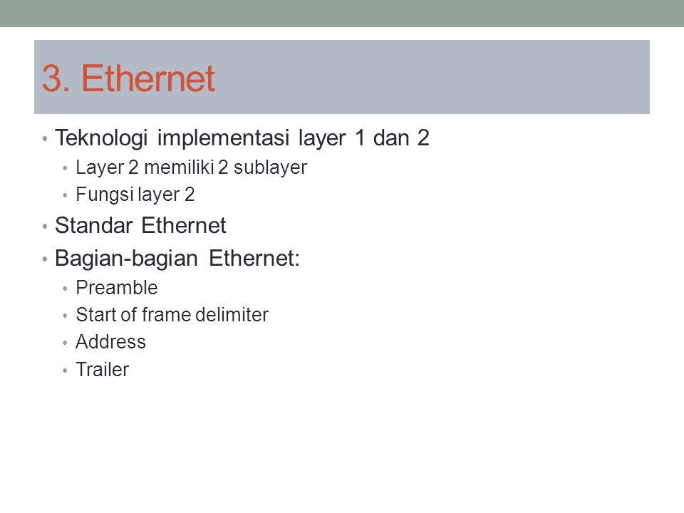 3. Ethernet Teknologi implementasi layer 1 dan 2 Layer 2 memiliki 2 sublayer Fungsi layer 2 Standar Ethernet Bagian-bagian Ethernet: Preamble Start of
