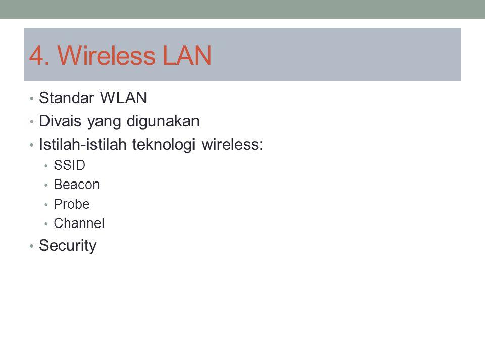 4. Wireless LAN Standar WLAN Divais yang digunakan Istilah-istilah teknologi wireless: SSID Beacon Probe Channel Security