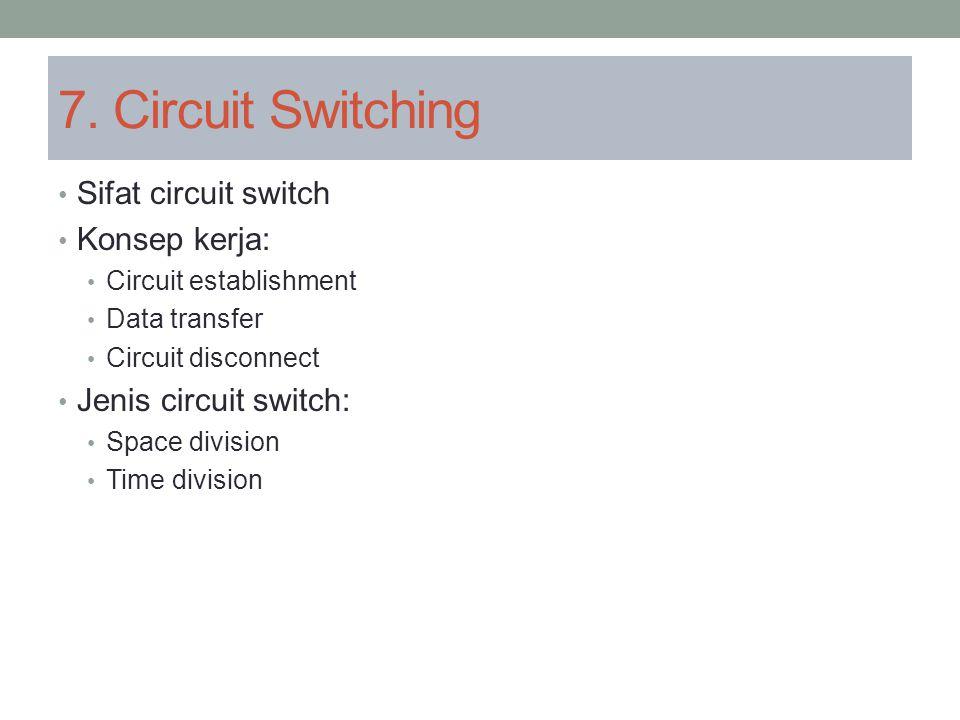 7. Circuit Switching Sifat circuit switch Konsep kerja: Circuit establishment Data transfer Circuit disconnect Jenis circuit switch: Space division Ti