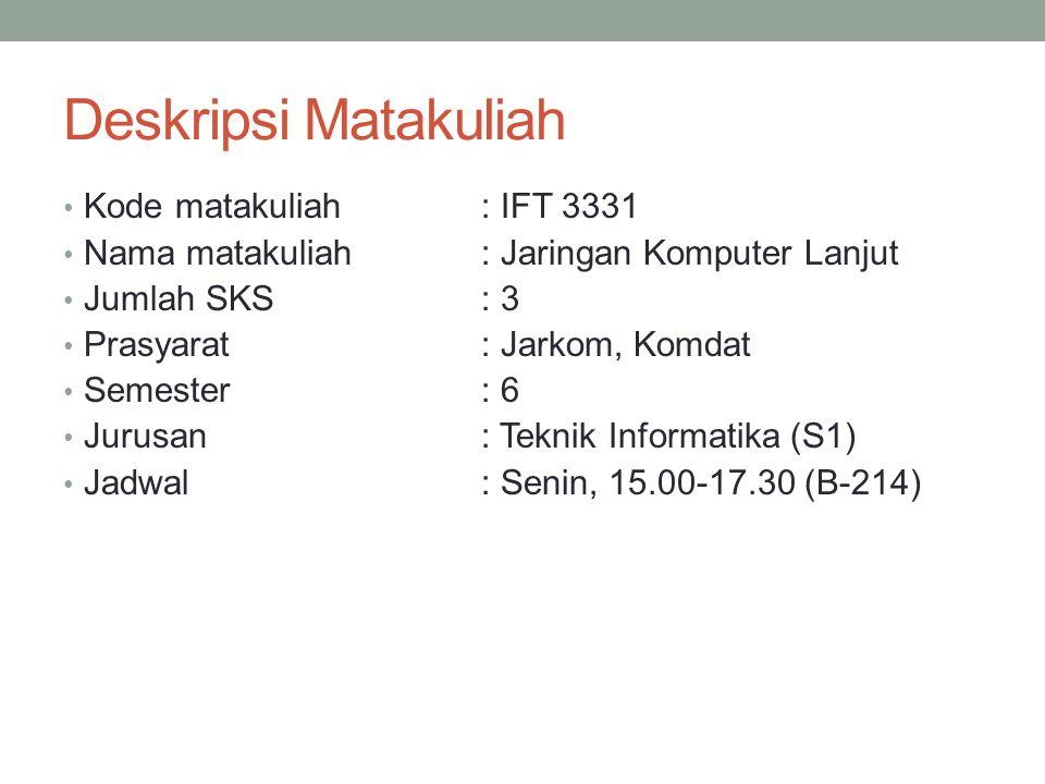 Deskripsi Matakuliah Kode matakuliah: IFT 3331 Nama matakuliah: Jaringan Komputer Lanjut Jumlah SKS: 3 Prasyarat: Jarkom, Komdat Semester : 6 Jurusan: Teknik Informatika (S1) Jadwal: Senin, 15.00-17.30 (B-214)