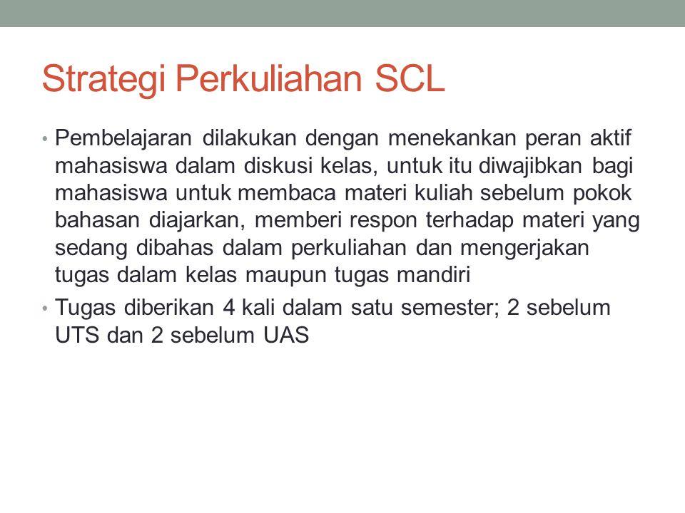 Strategi Perkuliahan SCL Pembelajaran dilakukan dengan menekankan peran aktif mahasiswa dalam diskusi kelas, untuk itu diwajibkan bagi mahasiswa untuk