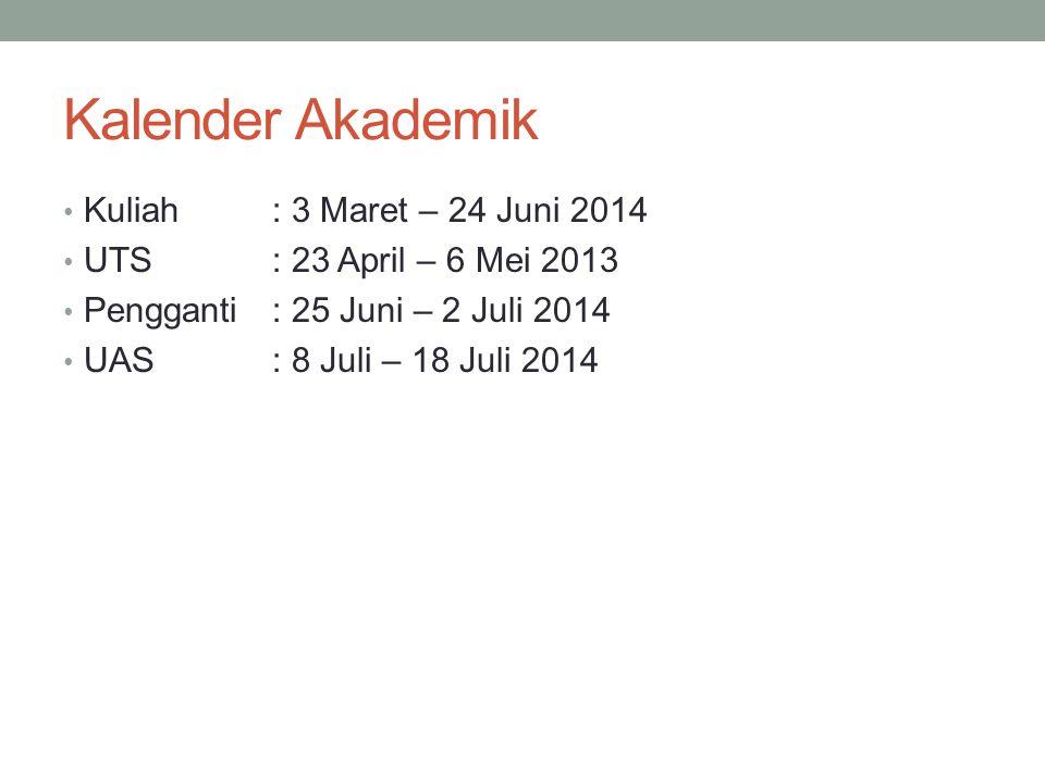 Kalender Akademik Kuliah: 3 Maret – 24 Juni 2014 UTS: 23 April – 6 Mei 2013 Pengganti : 25 Juni – 2 Juli 2014 UAS: 8 Juli – 18 Juli 2014