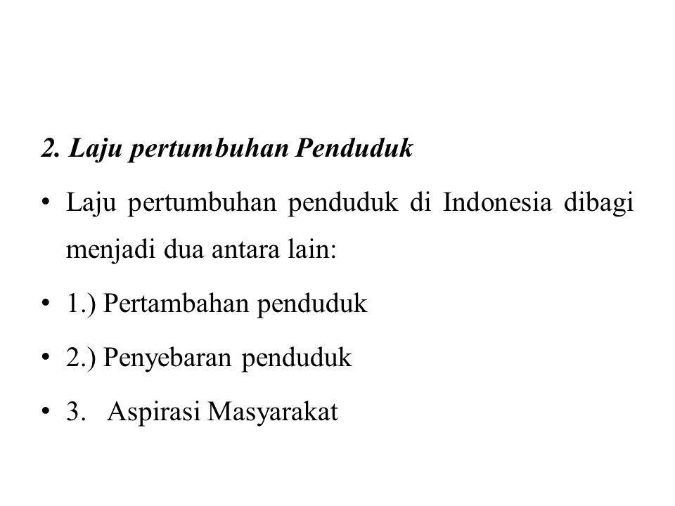 2. Laju pertumbuhan Penduduk Laju pertumbuhan penduduk di Indonesia dibagi menjadi dua antara lain: 1.) Pertambahan penduduk 2.) Penyebaran penduduk 3