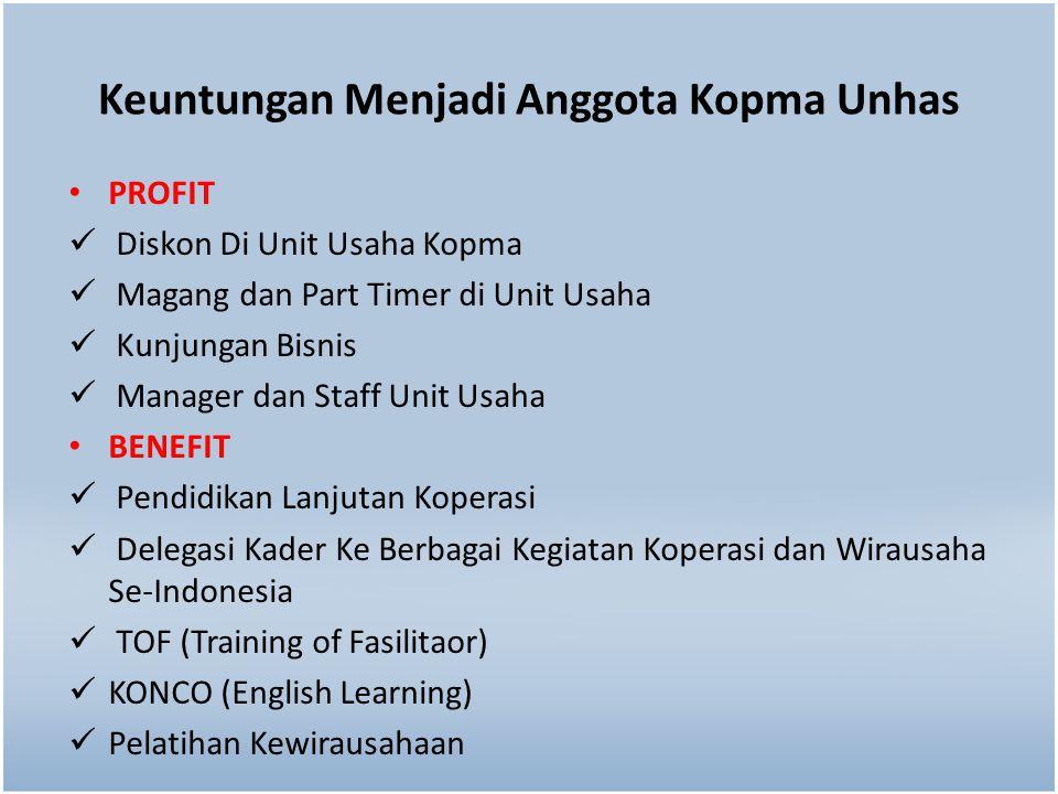 Keuntungan Menjadi Anggota Kopma Unhas PROFIT Diskon Di Unit Usaha Kopma Magang dan Part Timer di Unit Usaha Kunjungan Bisnis Manager dan Staff Unit U