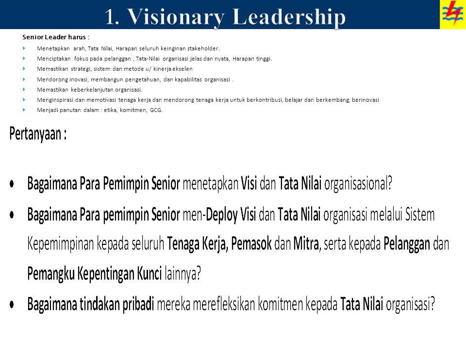 Senior Leader harus :  Menetapkan arah, Tata Nilai, Harapan seluruh keinginan stakeholder.  Menciptakan fokus pada pelanggan, Tata-Nilai organisasi