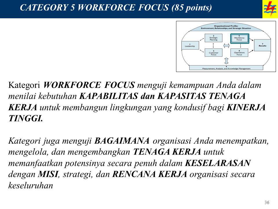 36 CATEGORY 5 WORKFORCE FOCUS (85 points) Kategori WORKFORCE FOCUS menguji kemampuan Anda dalam menilai kebutuhan KAPABILITAS dan KAPASITAS TENAGA KER