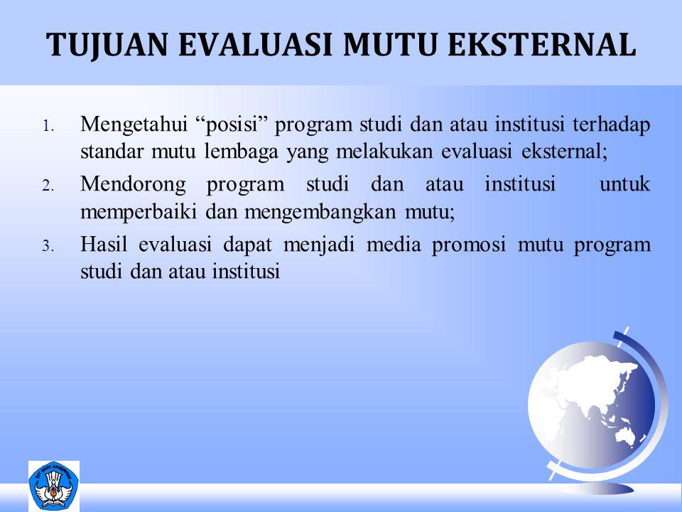 """TUJUAN EVALUASI MUTU EKSTERNAL 1. Mengetahui """"posisi"""" program studi dan atau institusi terhadap standar mutu lembaga yang melakukan evaluasi eksternal"""