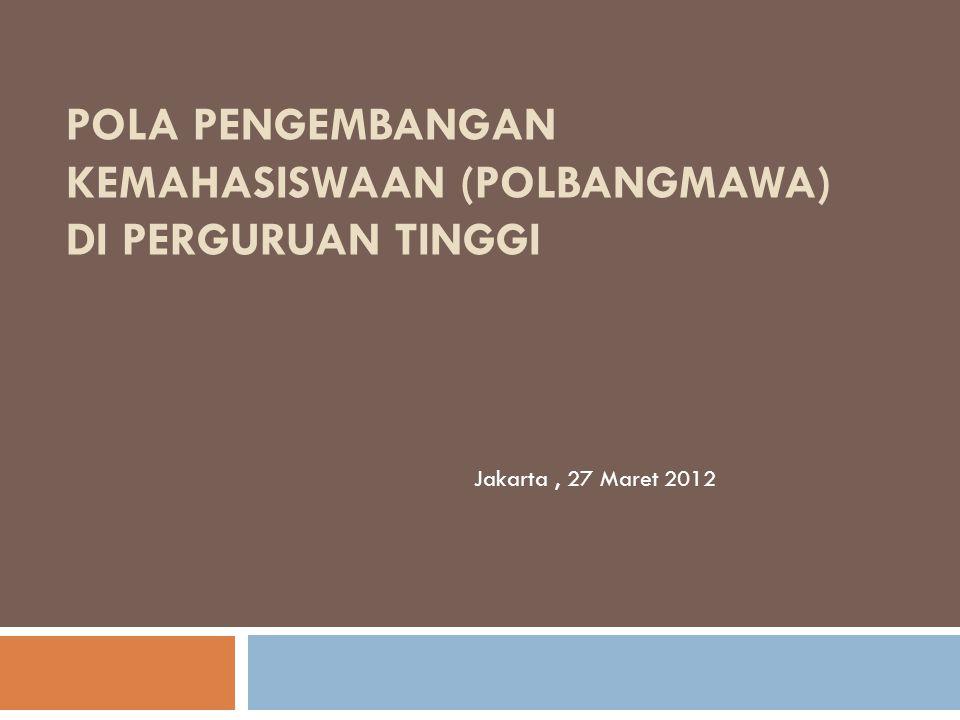 POLA PENGEMBANGAN KEMAHASISWAAN (POLBANGMAWA) DI PERGURUAN TINGGI Jakarta, 27 Maret 2012