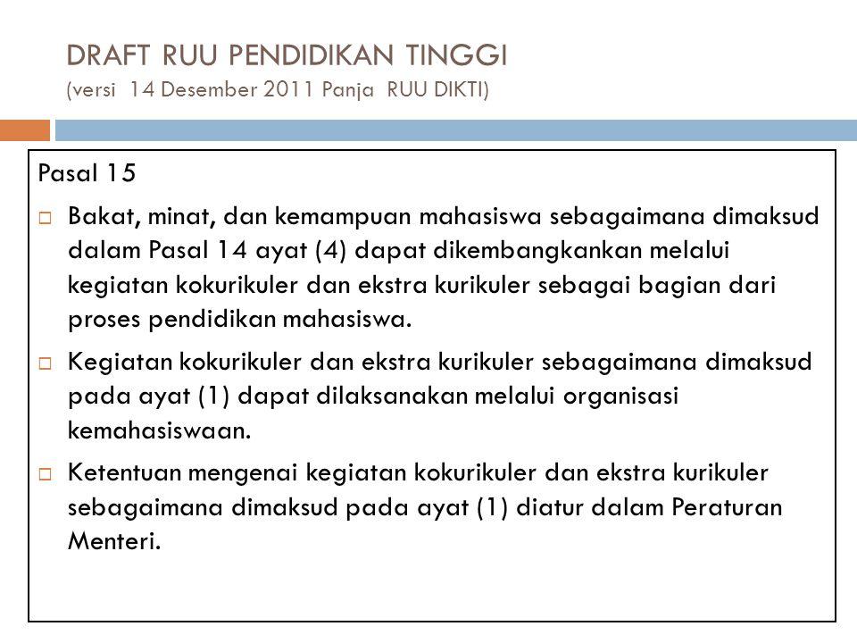 DRAFT RUU PENDIDIKAN TINGGI (versi 14 Desember 2011 Panja RUU DIKTI) Pasal 15  Bakat, minat, dan kemampuan mahasiswa sebagaimana dimaksud dalam Pasal