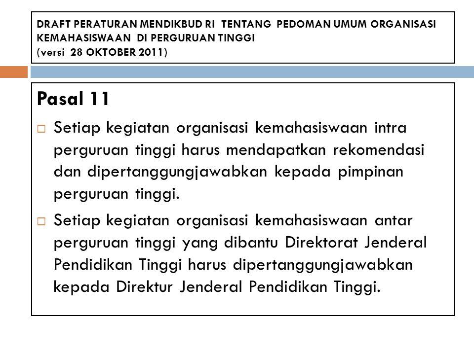 Pasal 11  Setiap kegiatan organisasi kemahasiswaan intra perguruan tinggi harus mendapatkan rekomendasi dan dipertanggungjawabkan kepada pimpinan per