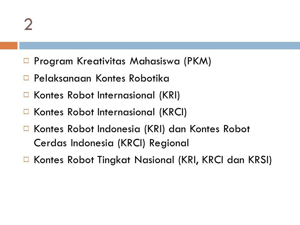 2  Program Kreativitas Mahasiswa (PKM)  Pelaksanaan Kontes Robotika  Kontes Robot Internasional (KRI)  Kontes Robot Internasional (KRCI)  Kontes