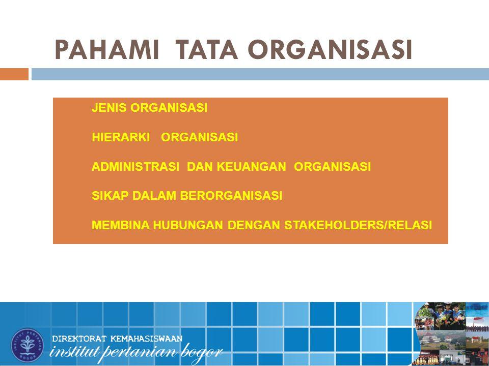 PAHAMI TATA ORGANISASI  JENIS ORGANISASI  HIERARKI ORGANISASI  ADMINISTRASI DAN KEUANGAN ORGANISASI  SIKAP DALAM BERORGANISASI  MEMBINA HUBUNGAN