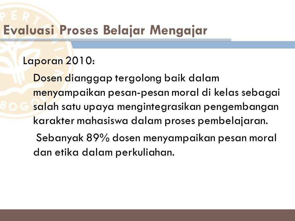 Laporan 2010: Dosen dianggap tergolong baik dalam menyampaikan pesan-pesan moral di kelas sebagai salah satu upaya mengintegrasikan pengembangan karak