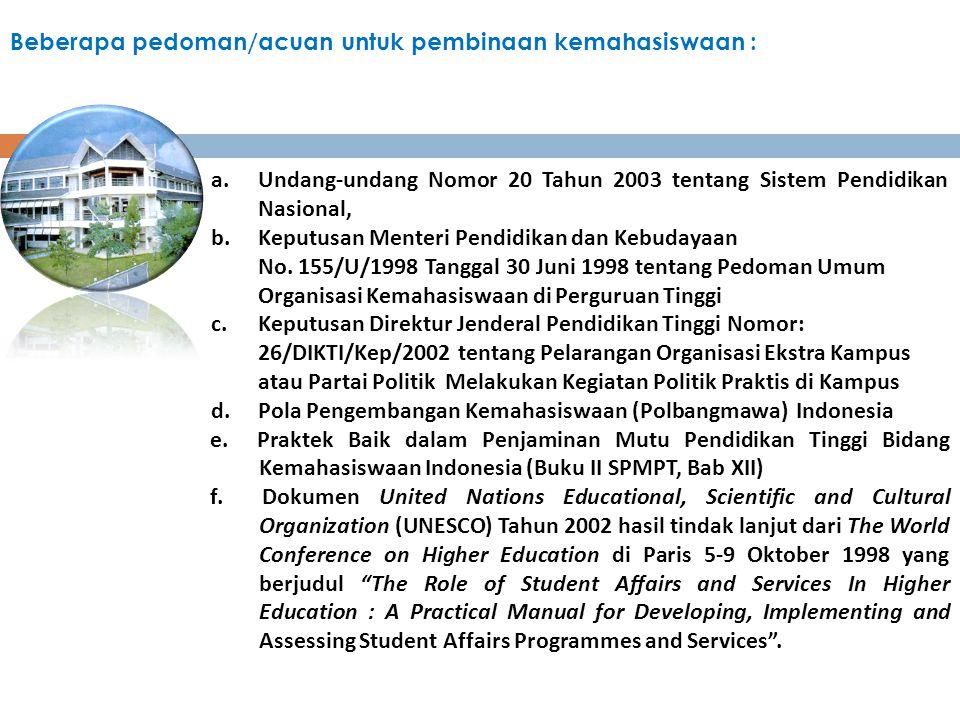 Beberapa pedoman/acuan untuk pembinaan kemahasiswaan : a.Undang-undang Nomor 20 Tahun 2003 tentang Sistem Pendidikan Nasional, b.Keputusan Menteri Pen