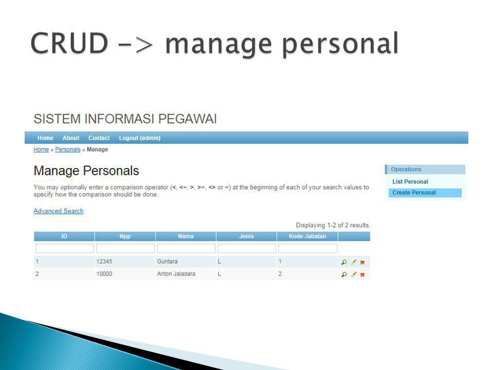  Mangatur judul halaman utama ◦ return array( name => judul  Mangatur password Gii (generator code Yii) ◦ return array( gii- password=> password  Mangatur koneksi ◦ return array ( db =>array( connectionString => mysql:host=localhost;dbname=nama_database , username => 'nama_user , ◦ password => 'sandi ,