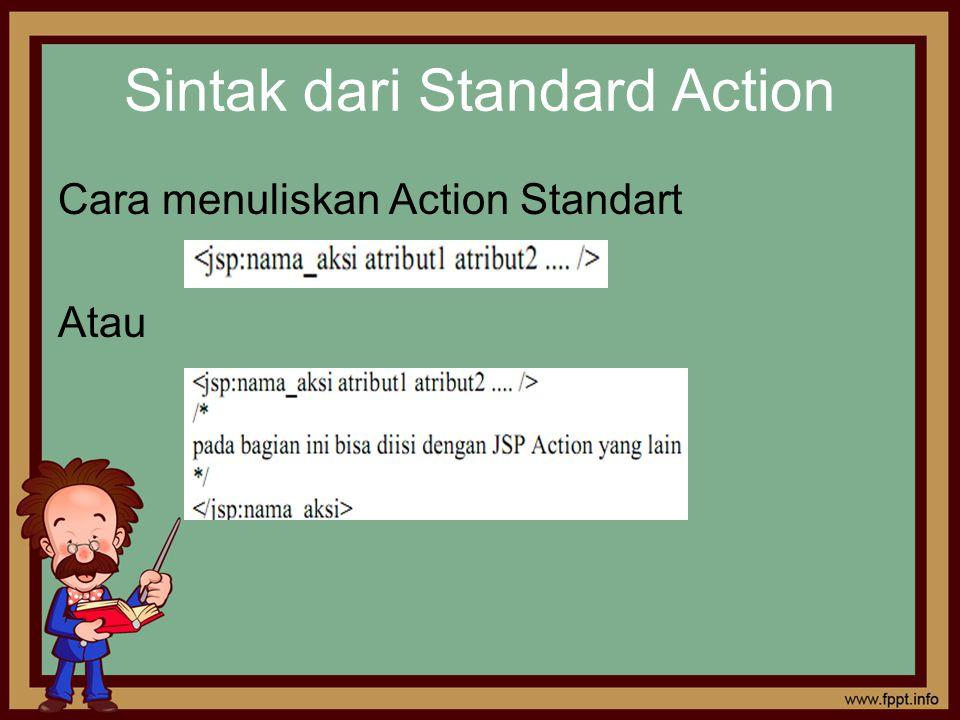 Sintak dari Standard Action Cara menuliskan Action Standart Atau