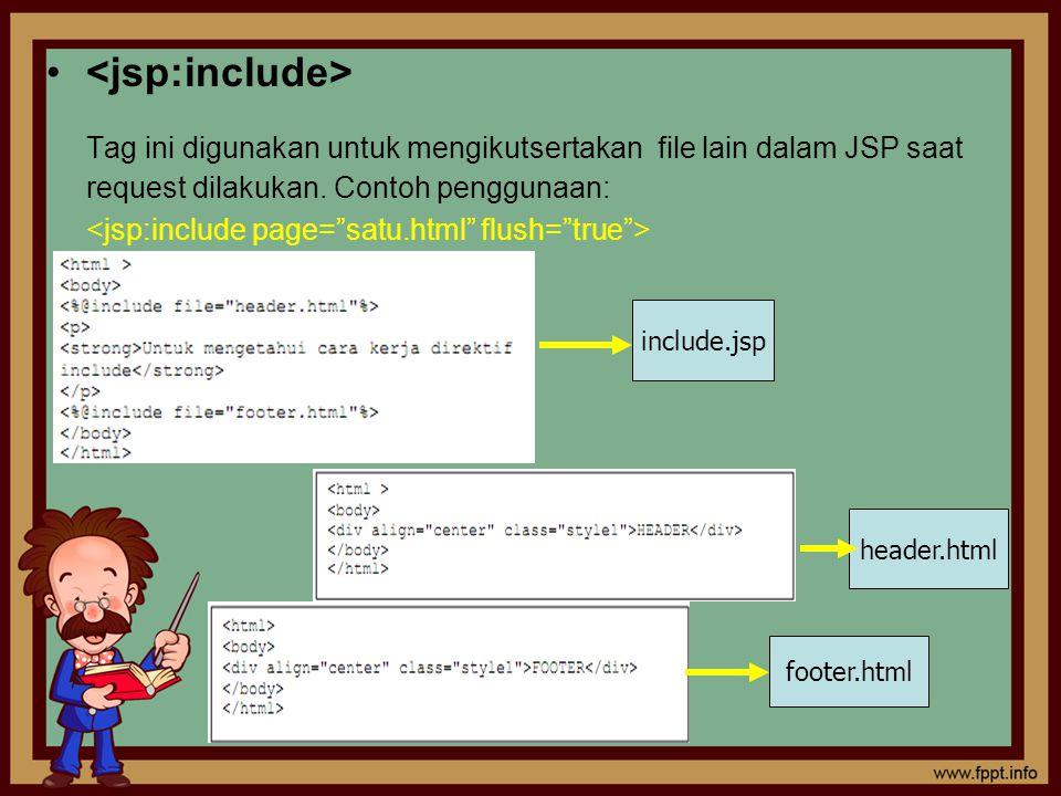 Tag ini digunakan untuk mengikutsertakan file lain dalam JSP saat request dilakukan. Contoh penggunaan: include.jsp header.html footer.html