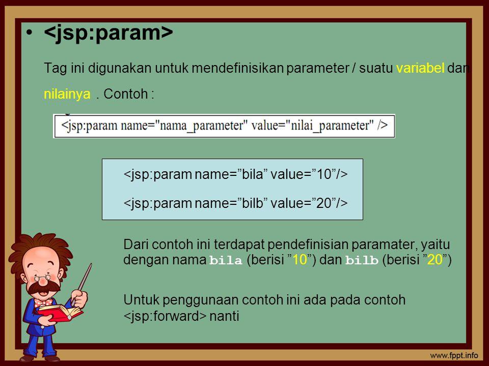 Tag ini digunakan untuk mendefinisikan parameter / suatu variabel dan nilainya. Contoh : Dari contoh ini terdapat pendefinisian paramater, yaitu denga