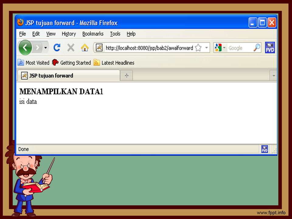 JSP Forward2 dokumen yang di forward <% String StrBilA= request.getParameter( bila ); String StrBilB= request.getParameter( bilb ); int bilA = Integer.valueOf(StrBilA).intValue(); int bilB = Integer.valueOf(StrBilB).intValue(); out.println(bilA+ + +bilB+ = +(bilA+bilB)); %>